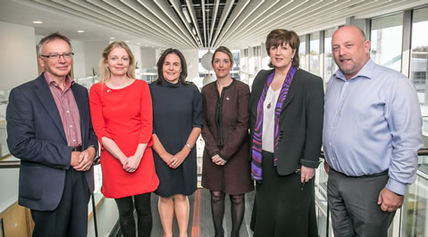 Pictured at the workshop were, from left: Prof. Willie Donnelly, President, WIT; Dr. Valerie Brett, Athena Swan Project Manager; WIT; Elaine Sheridan; Financial Controller; WIT; Dr. Allison Kenneally, Director of the Office of Equality, Diversity & Inclusivity, Institute of Technology Carlow; Dr. Patricia Mulcahy, President, Institute of Technology Carlow; Mr. David Denieffe, Vice-President for Student Affairs, Institute of Technology Carlow.